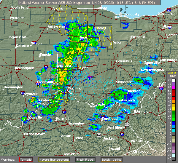 Radar Image for Severe Thunderstorms near Piqua, OH at 5/10/2020 3:22 PM EDT
