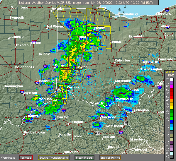 Radar Image for Severe Thunderstorms near Kettering, OH at 5/10/2020 3:28 PM EDT