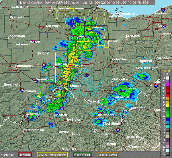 Radar Image for Severe Thunderstorms near St. Paris, OH at 5/10/2020 3:33 PM EDT