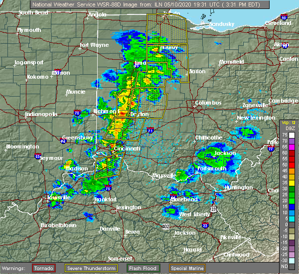 Radar Image for Severe Thunderstorms near Silverton, OH at 5/10/2020 3:35 PM EDT