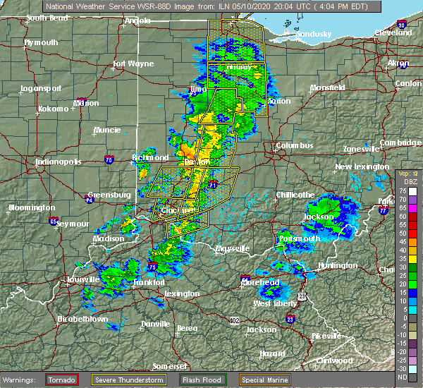 Radar Image for Severe Thunderstorms near Kettering, OH at 5/10/2020 4:07 PM EDT