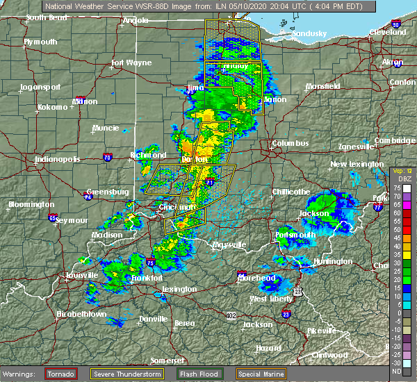 Radar Image for Severe Thunderstorms near Springfield, OH at 5/10/2020 4:10 PM EDT