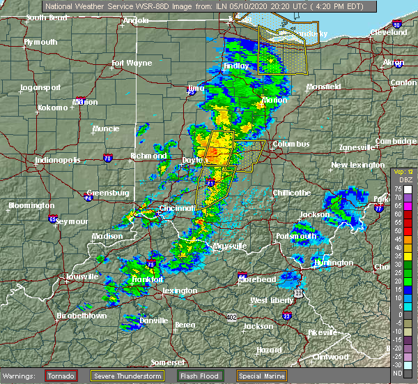 Radar Image for Severe Thunderstorms near Clarksburg, OH at 5/10/2020 4:25 PM EDT