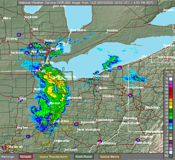 Radar Image for Severe Thunderstorms near Oberlin, OH at 5/10/2020 5:01 PM EDT