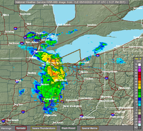 Radar Image for Severe Thunderstorms near Oberlin, OH at 5/10/2020 5:32 PM EDT