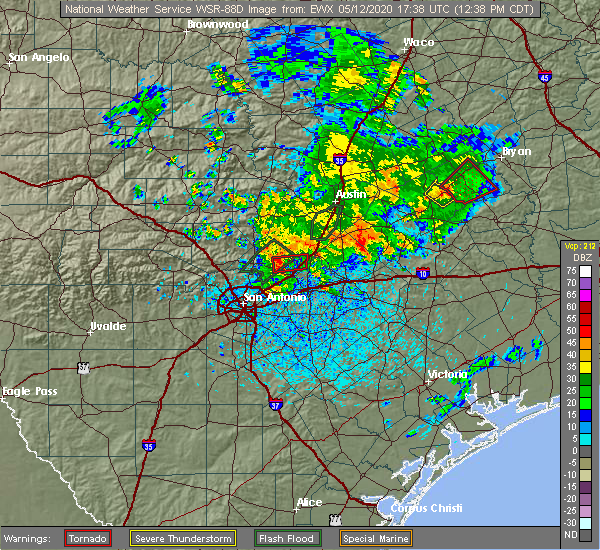 Radar Image for Severe Thunderstorms near New Braunfels, TX at 5/12/2020 12:40 PM CDT