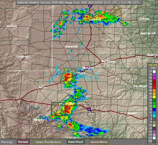 Radar Image for Severe Thunderstorms near Goldsmith, TX at 5/13/2020 5:33 PM CDT