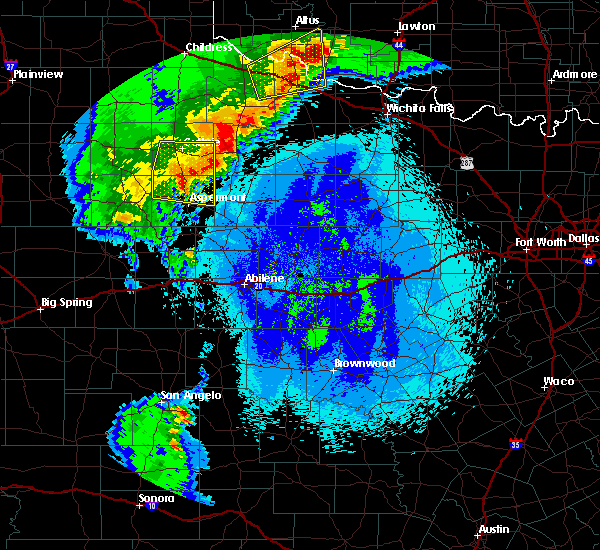 Radar Image for Severe Thunderstorms near Guthrie, TX at 5/13/2020 10:11 PM CDT