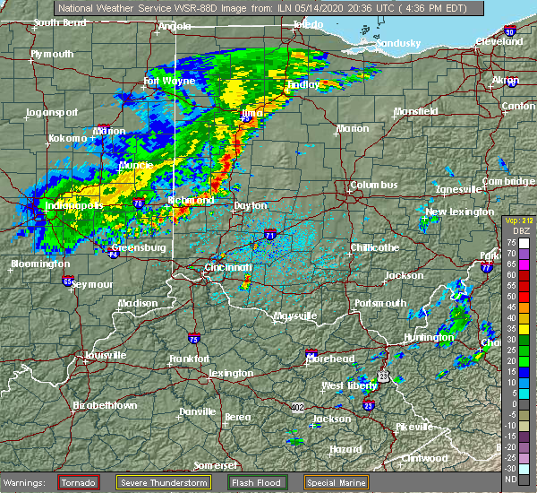 Radar Image for Severe Thunderstorms near St. Paris, OH at 5/14/2020 4:38 PM EDT
