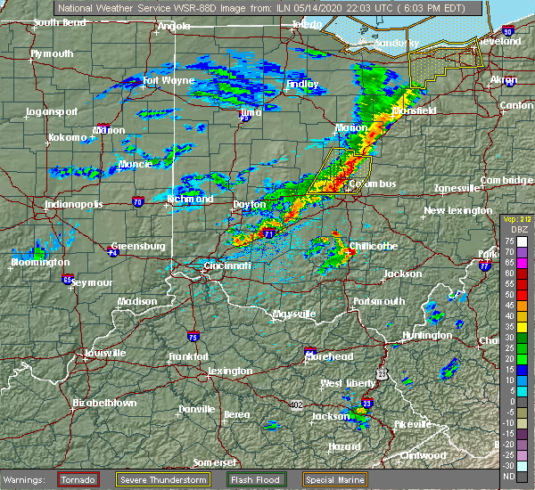 Radar Image for Severe Thunderstorms near Westerville, OH at 5/14/2020 6:15 PM EDT