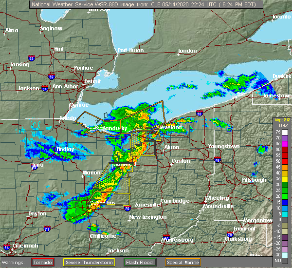 Radar Image for Severe Thunderstorms near Howard, OH at 5/14/2020 6:31 PM EDT