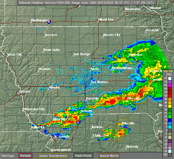 Radar Image for Severe Thunderstorms near Chillicothe, IA at 5/14/2020 7:43 PM CDT