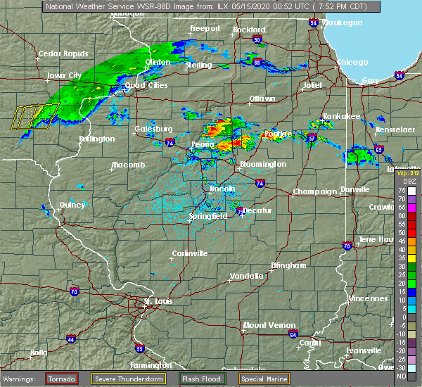 Radar Image for Severe Thunderstorms near Washburn, IL at 5/14/2020 7:57 PM CDT