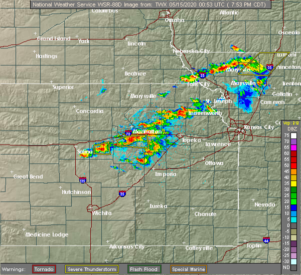 Radar Image for Severe Thunderstorms near Bushong, KS at 5/14/2020 8:03 PM CDT