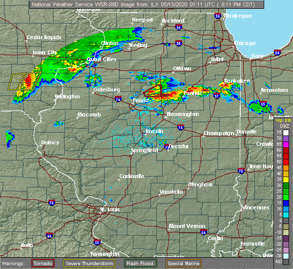 Radar Image for Severe Thunderstorms near Wenona, IL at 5/14/2020 8:18 PM CDT
