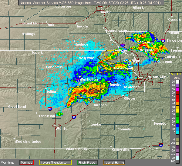 Radar Image for Severe Thunderstorms near Bushong, KS at 5/14/2020 9:30 PM CDT