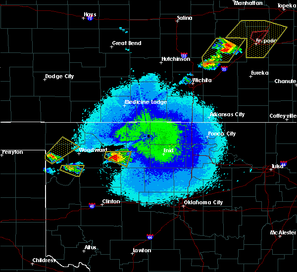 Radar Image for Severe Thunderstorms near Cleo Springs, OK at 5/14/2020 9:54 PM CDT