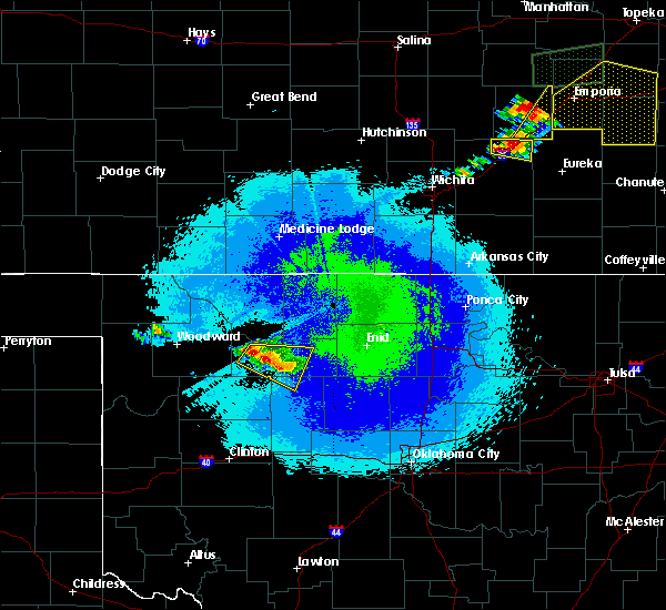 Radar Image for Severe Thunderstorms near Cleo Springs, OK at 5/14/2020 10:34 PM CDT