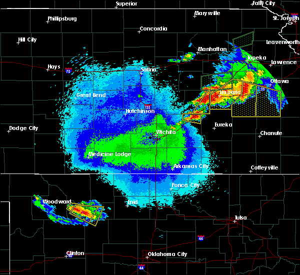 Radar Image for Severe Thunderstorms near Cassoday, KS at 5/14/2020 10:38 PM CDT