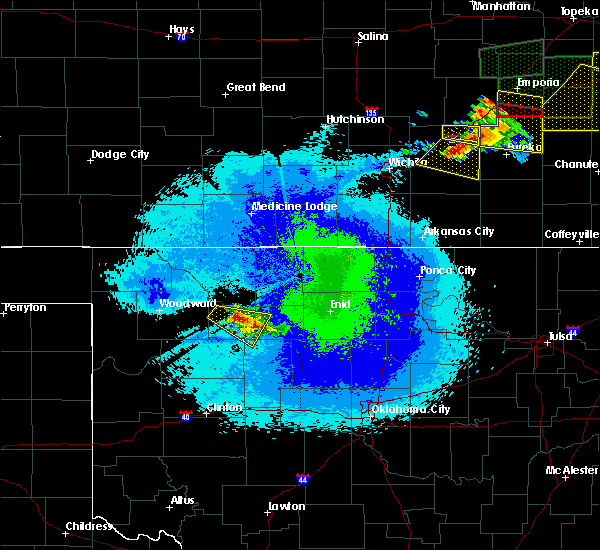 Radar Image for Severe Thunderstorms near Cleo Springs, OK at 5/14/2020 11:07 PM CDT