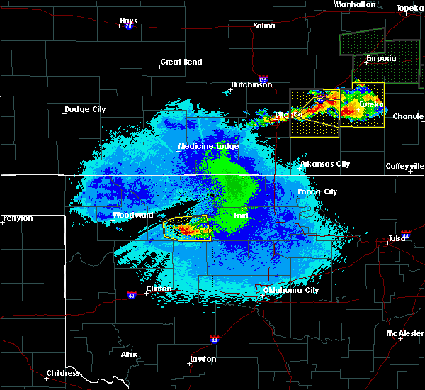 Radar Image for Severe Thunderstorms near Cleo Springs, OK at 5/14/2020 11:58 PM CDT