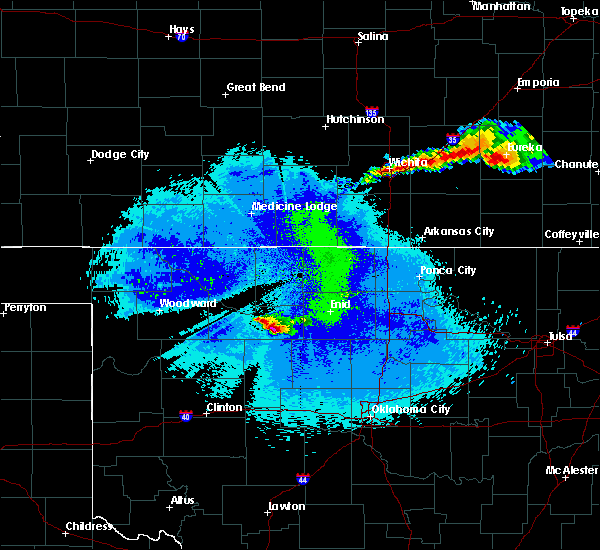 Radar Image for Severe Thunderstorms near Cleo Springs, OK at 5/15/2020 12:10 AM CDT