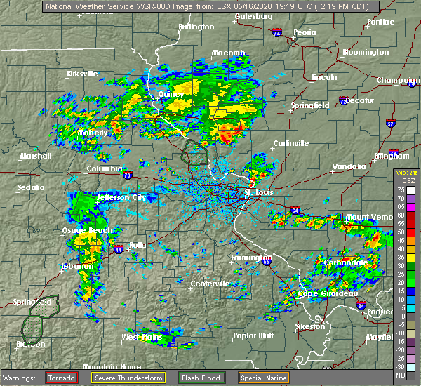 Radar Image for Severe Thunderstorms near White Hall, IL at 5/16/2020 2:23 PM CDT