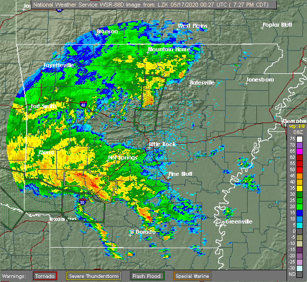 Radar Image for Severe Thunderstorms near Friendship, AR at 5/16/2020 7:33 PM CDT