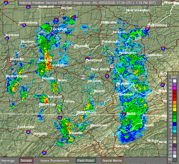Radar Image for Severe Thunderstorms near Georgetown, KY at 5/18/2020 1:42 PM EDT