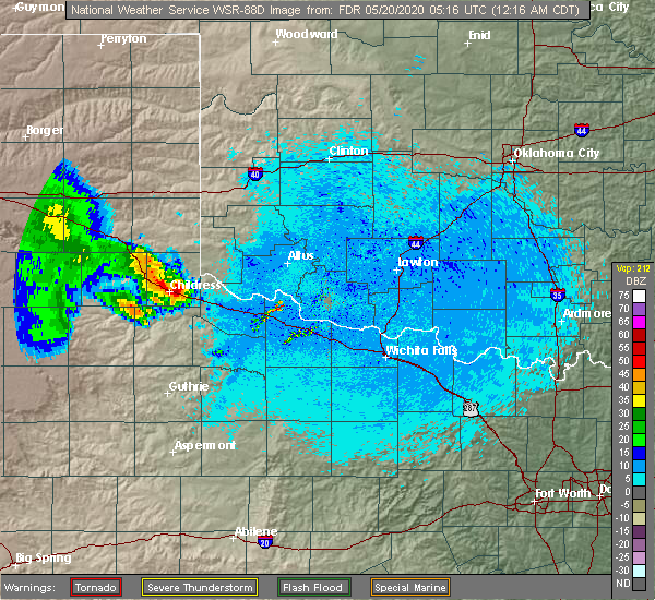 Radar Image for Severe Thunderstorms near Childress, TX at 5/20/2020 12:21 AM CDT
