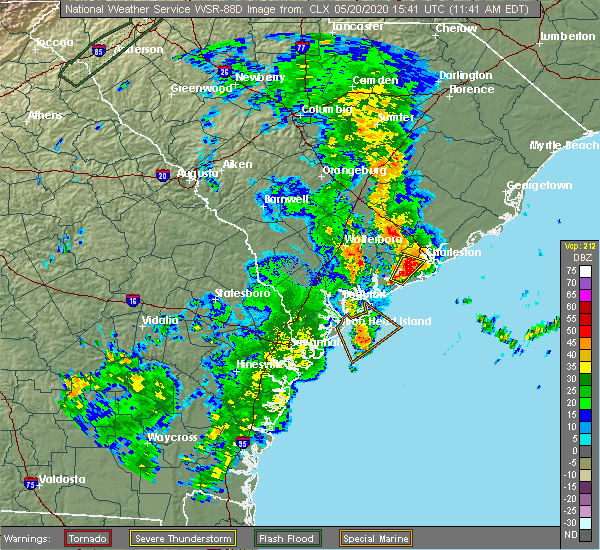 Radar Image for Severe Thunderstorms near Hollywood, SC at 5/20/2020 11:50 AM EDT