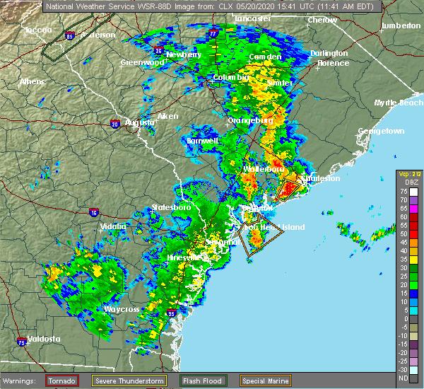 Radar Image for Severe Thunderstorms near Charleston, SC at 5/20/2020 11:50 AM EDT
