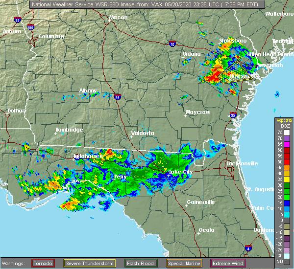 Radar Image for Severe Thunderstorms near Valdosta, GA at 5/20/2020 7:41 PM EDT