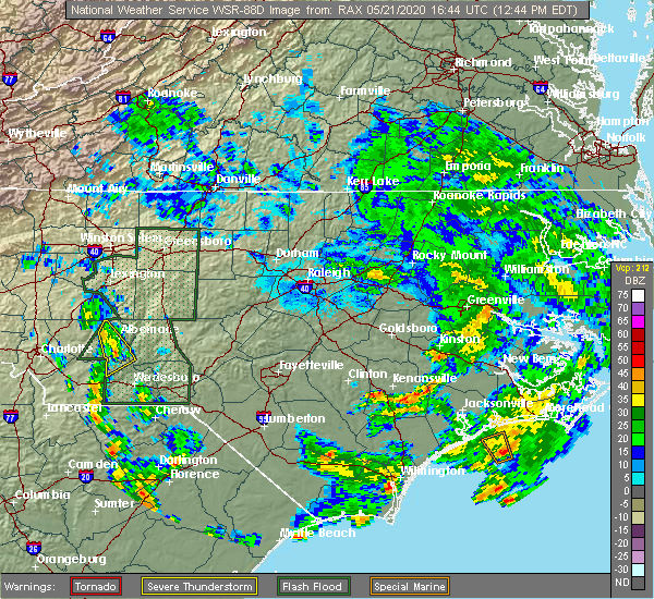 Radar Image for Severe Thunderstorms near Norwood, NC at 5/21/2020 12:46 PM EDT