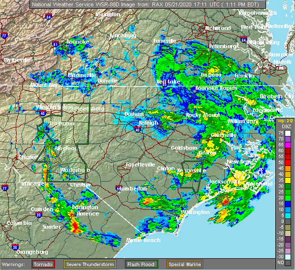 Radar Image for Severe Thunderstorms near Norwood, NC at 5/21/2020 1:18 PM EDT