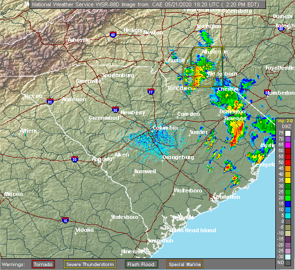 Radar Image for Severe Thunderstorms near Ansonville, NC at 5/21/2020 2:22 PM EDT