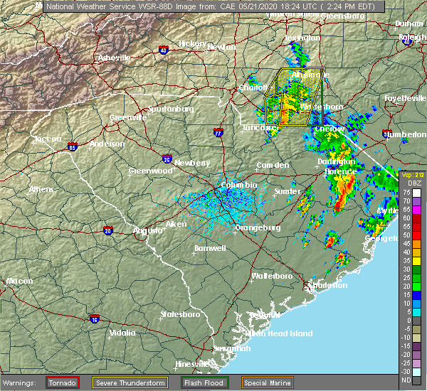 Radar Image for Severe Thunderstorms near Unionville, NC at 5/21/2020 2:27 PM EDT