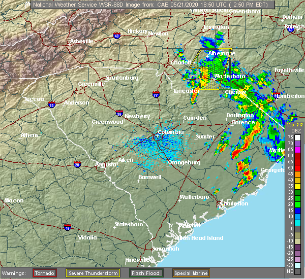 Radar Image for Severe Thunderstorms near Ansonville, NC at 5/21/2020 2:57 PM EDT