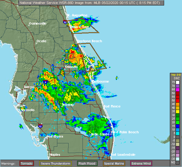 Radar Image for Severe Thunderstorms near Orange City, FL at 5/21/2020 8:23 PM EDT