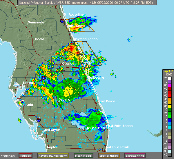 Radar Image for Severe Thunderstorms near Ponce Inlet, FL at 5/21/2020 8:29 PM EDT