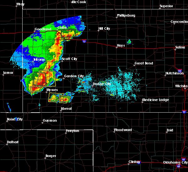 Radar Image for Severe Thunderstorms near Johnson City, KS at 5/21/2020 7:36 PM CDT