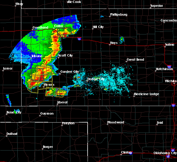 Radar Image for Severe Thunderstorms near Ulysses, KS at 5/21/2020 7:40 PM CDT