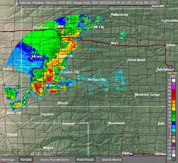 Radar Image for Severe Thunderstorms near Ulysses, KS at 5/21/2020 8:27 PM CDT