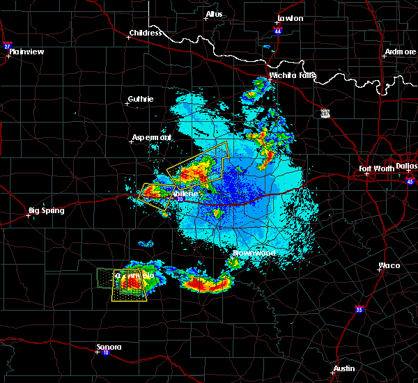 Radar Image for Severe Thunderstorms near Woodson, TX at 5/21/2020 10:16 PM CDT
