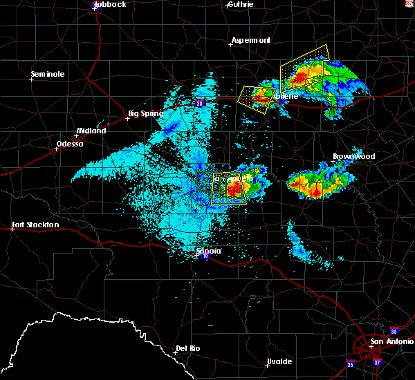 Radar Image for Severe Thunderstorms near Richland Springs, TX at 5/21/2020 10:39 PM CDT