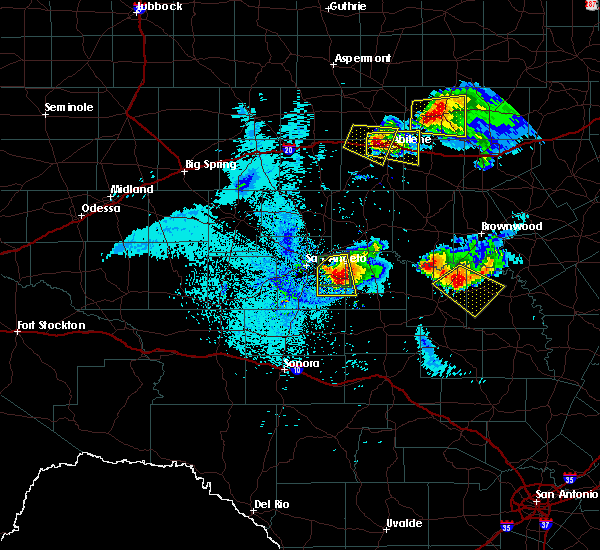 Radar Image for Severe Thunderstorms near Richland Springs, TX at 5/21/2020 10:50 PM CDT