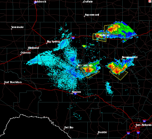 Radar Image for Severe Thunderstorms near Richland Springs, TX at 5/21/2020 10:58 PM CDT