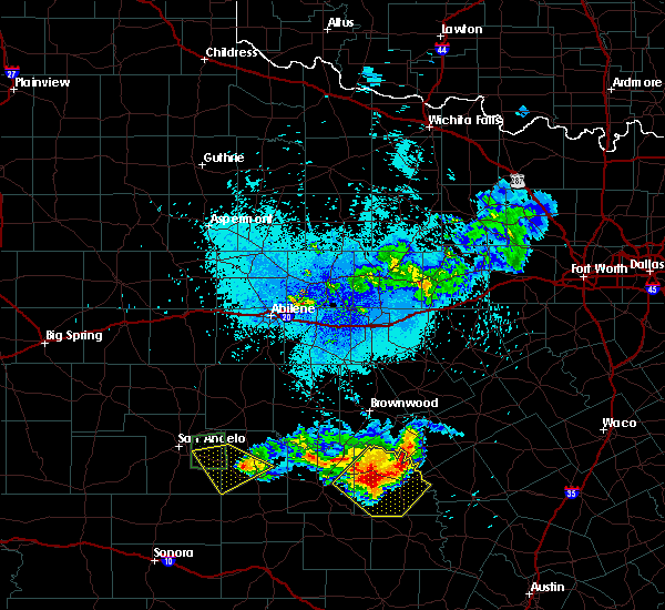 Radar Image for Severe Thunderstorms near Richland Springs, TX at 5/21/2020 11:44 PM CDT