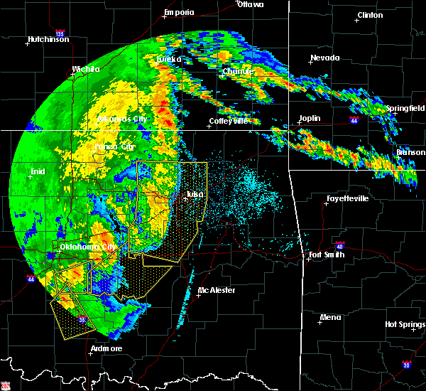 Radar Image for Severe Thunderstorms near Oakhurst, OK at 5/22/2020 6:38 AM CDT
