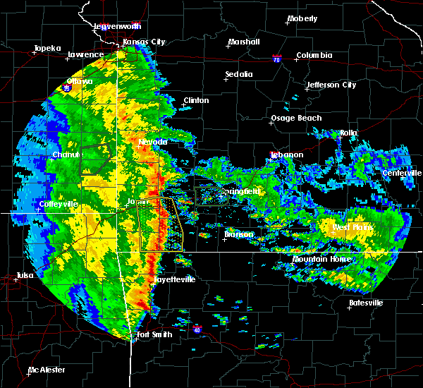 Radar Image for Severe Thunderstorms near La Russell, MO at 5/22/2020 9:58 AM CDT